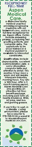 Medical Receptionist - Aspen Medical Care