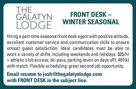 Front Desk – Winter Seasonal - THE GALATYN LODGE