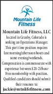 Operations Manager - Mountain Life Fitness